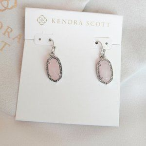 Kendra Scott Lee Silver Rose Quartz Drop Earrings